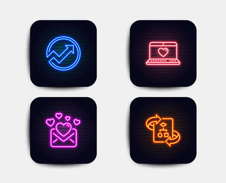 Neon glow lights. Set of Love mail, Audit and Web love icons. Technical algorithm sign. Valentines letter, Arrow graph, Social network. Project doc.  Neon icons. Glowing light banners. Vector