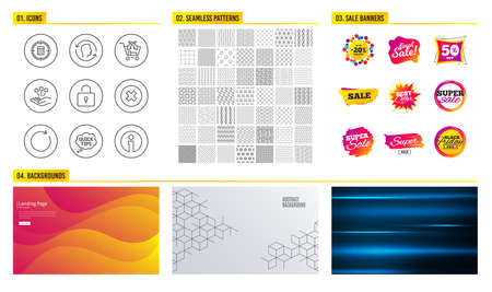 Seamless pattern. Shopping mall banners. Set of Cross sell, Close button and Consolidation icons. Quick tips, Lock and Synchronize signs. Calculator target, Face id and Info symbols. Vector Banque d'images - 125563623