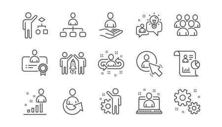 Icone della linea di gestione. Uomini d'affari, algoritmo e gruppo. Insieme dell'icona lineare di strategia di avvio. Vettore