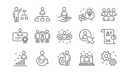 Ikony linii zarządzania. Ludzie biznesu, algorytm i grupa. Zestaw ikon liniowy strategii uruchamiania. Wektor