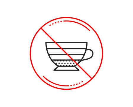 No or stop sign. Cappuccino coffee icon. Hot drink sign. Beverage symbol. Caution prohibited ban stop symbol. No  icon design.  Vector
