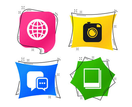 Social media icons. Chat speech bubble and world globe symbols. Hipster photo camera sign. Photo frames. Geometric colorful tags. Banners with flat icons. Trendy design. Vector Иллюстрация