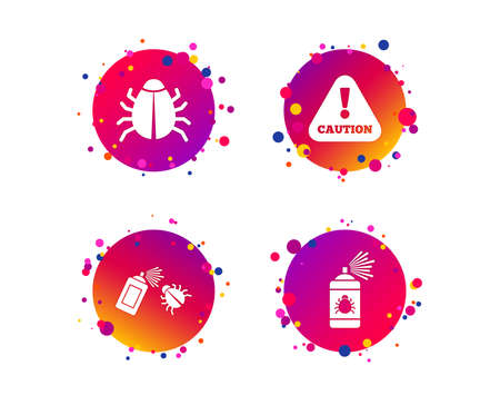 Bug disinfection icons. Caution attention symbol. Insect fumigation spray sign. Gradient circle buttons with icons. Random dots design. Vector