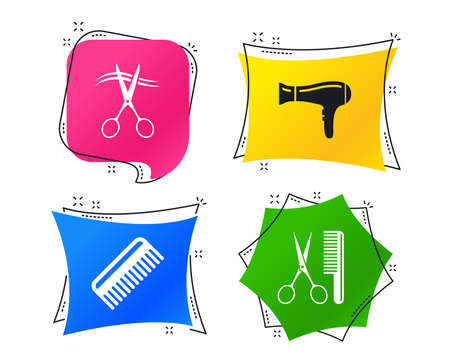 Hairdresser icons. Scissors cut hair symbol. Comb hair with hairdryer sign. Geometric colorful tags. Banners with flat icons. Trendy design. Vector Illusztráció