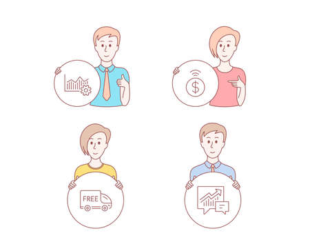 People hand drawn style. Set of Free delivery, Contactless payment and Operational excellence icons. Accounting sign. Shopping truck, Financial payment, Corporate business. Supply and demand. Vector