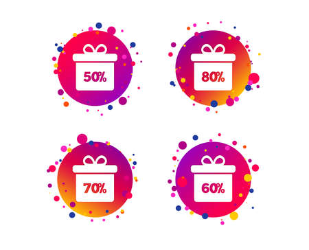 Sale gift box tag icons. Discount special offer symbols. 50%, 60%, 70% and 80% percent discount signs. Gradient circle buttons with icons. Random dots design. Vector