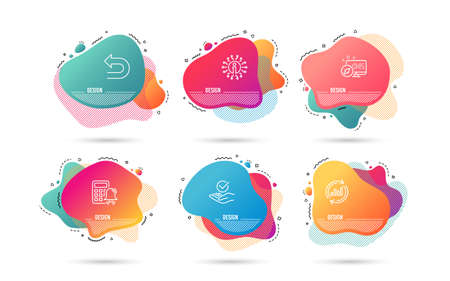 Dynamic liquid shapes. Set of Approved, Update data and Calculator alarm icons. Undo sign. Verified symbol, Sales chart, Accounting. Left turn.  Gradient banners. Fluid abstract shapes. Vector