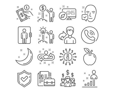 Set of Income money, Vacancy and Elevator icons. Payment method, Salary employees and Face accepted signs. Creative idea, Recruitment and Stats symbols. Wealth, Hiring job, Office transportation