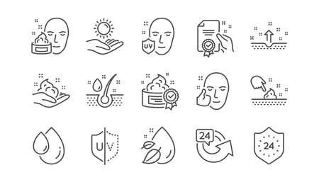 Symbole für die Hautpflegelinie. Creme, Serumtropfen und Gesichtsgel oder Lotion. Linearer Symbolsatz für den UV-Schutz. Vektor Vektorgrafik