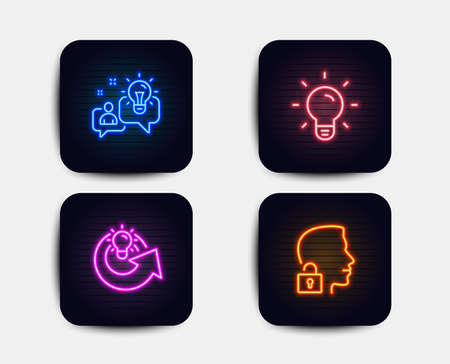 Neon glow lights. Set of Light bulb, Idea and Share idea icons. Unlock system sign. Lamp energy, Solution, Access granted.  Neon icons. Glowing light banners. Vector
