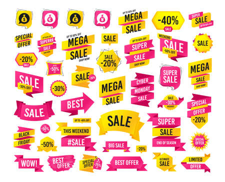 Sale banner. Super mega discounts. Money bag icons. Dollar, Euro, Pound and Yen speech bubbles symbols. USD, EUR, GBP and JPY currency signs. Black friday. Cyber monday. Vector 向量圖像