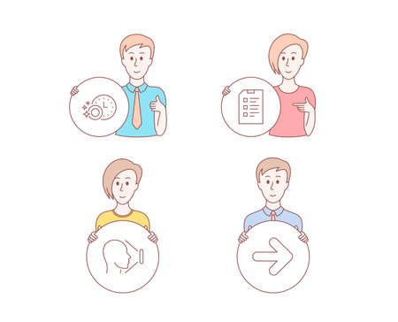 People hand drawn style. Set of Checklist, Face id and Dishwasher timer icons. Next sign. Data list, Identification system, Cleaning dishes. Forward.  Character hold circle button. Man with like hand
