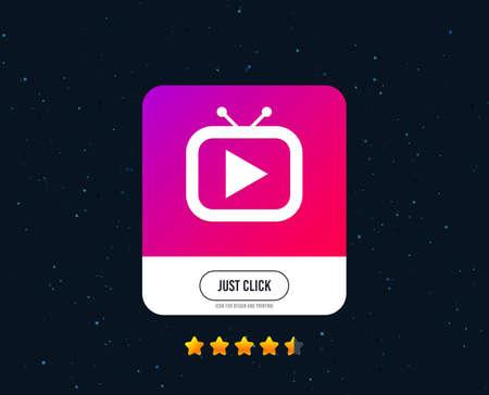 Retro TV mode sign icon. Television set symbol. Web or internet icon design. Rating stars. Just click button. Vector Illustration