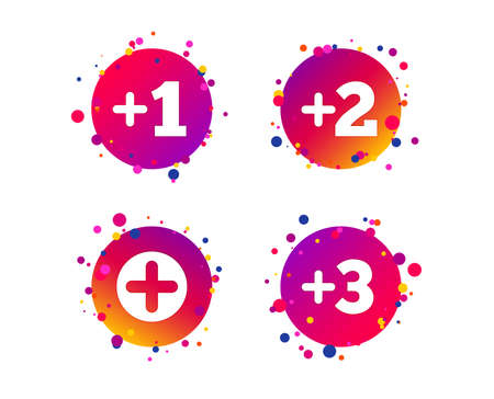 Plus icons. Positive symbol. Add one, two, three and four more sign. Gradient circle buttons with icons. Random dots design. Vector