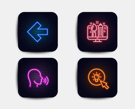Neon set of Human sing, Creative design and Left arrow icons. Energy sign. Talk, Designer, Direction arrow. Turn on the light. Neon icons. Glowing light banners. Vector