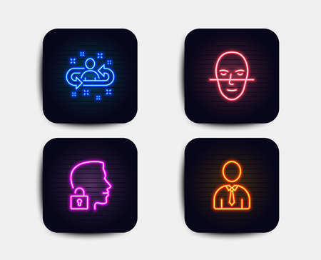 Neon glow lights. Set of Unlock system, Face recognition and Recruitment icons. Human sign. Access granted, Faces biometrics, Manager change. Person profile.  Neon icons. Glowing light banners. Vector Stock Vector - 116304874