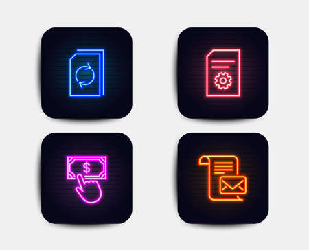 Neon glow lights. Set of Payment click, File settings and Update document icons. Mail letter sign. Financial transfer, File management, Read e-mail.  Neon icons. Glowing light banners. Vector