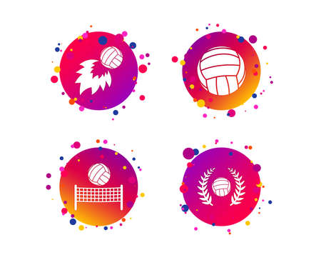 Volleyball and net icons. Winner award laurel wreath symbols. Fireball and beach sport symbol. Gradient circle buttons with icons. Random dots design. Vector