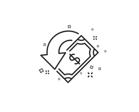 Cashback line icon. Send or receive money sign. Geometric shapes. Random cross elements. Linear Cashback icon design. Vector