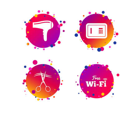 Hotel services icons. Wifi, Hairdryer and deposit lock in room signs. Wireless Network. Hairdresser or barbershop symbol. Gradient circle buttons with icons. Random dots design. Vector