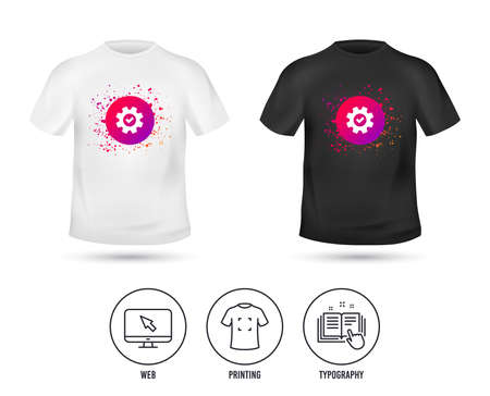 T-shirt mock up template. Service icon. Cogwheel with tick sign. Check symbol. Realistic shirt mockup design. Printing, typography icon. Vector