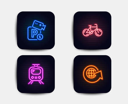 Neon glow lights. Set of Parking security, Train and Bicycle icons. World globe sign. Video camera, Tram, Bike. Around the world.  Neon icons. Glowing light banners. Vector Illustration