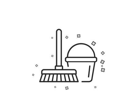 Cleaning bucket with mop line icon. Washing Housekeeping equipment sign. Geometric shapes. Random cross elements. Linear Bucket with mop icon design. Vector
