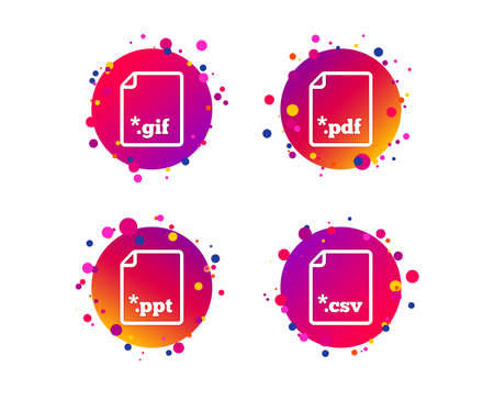Download document icons. File extensions symbols. PDF, GIF, CSV and PPT presentation signs. Gradient circle buttons with icons. Random dots design. Vector