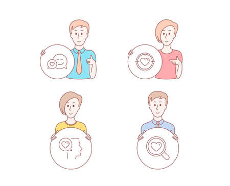 People hand drawn style. Set of Romantic talk, Valentine target and Dating icons. Search love sign. Love chat, Heart in aim, Dating service.  Character hold circle button. Man with like hand. Vector