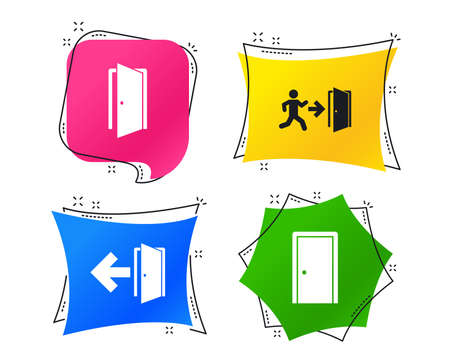 Doors icons. Emergency exit with human figure and arrow symbols. Fire exit signs. Geometric colorful tags. Banners with flat icons. Trendy design. Vector Illustration