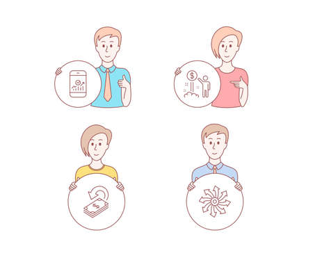 People hand drawn style. Set of Income money, Cashback and Smartphone statistics icons. Versatile sign. Wealth, Financial transfer, Mobile business. Multifunction.  Character hold circle button
