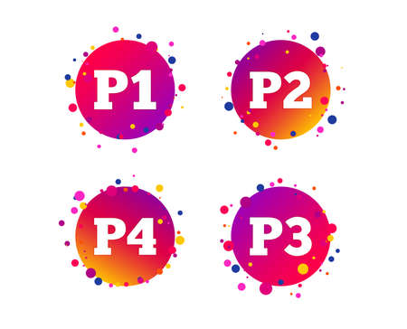 Car parking icons. First, second, third and four floor signs. P1, P2, P3 and P4 symbols. Gradient circle buttons with icons. Random dots design. Vector Иллюстрация