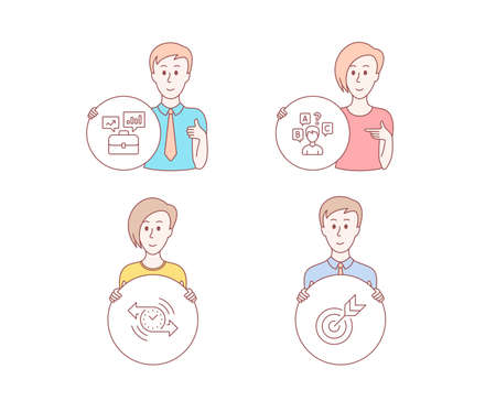 People hand drawn style. Set of Timer, Business portfolio and Quiz test icons. Target sign. Stopwatch, Job interview, Interview. Targeting.  Character hold circle button. Man with like hand. Vector
