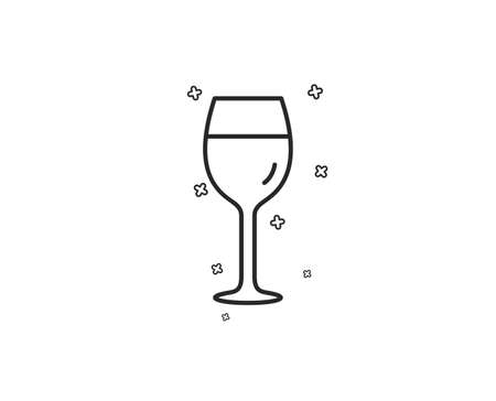 Wine glass line icon. Bordeaux glass sign. Geometric shapes. Random cross elements. Linear Wine glass icon design. Vector