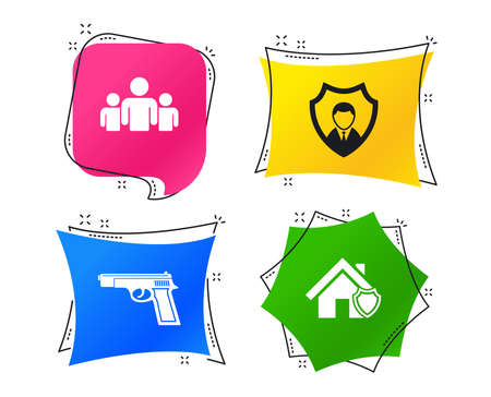 Security agency icons. Home shield protection symbols. Gun weapon sign. Group of people or Share. Geometric colorful tags. Banners with flat icons. Trendy design. Vector