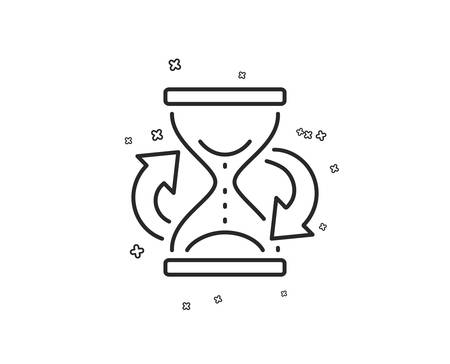 Time hourglass refresh line icon. Sand watch sign. Geometric shapes. Random cross elements. Linear Hourglass icon design. Vector