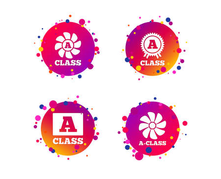 A-class award icon. A-class ventilation sign. Premium level symbols. Gradient circle buttons with icons. Random dots design. Vector