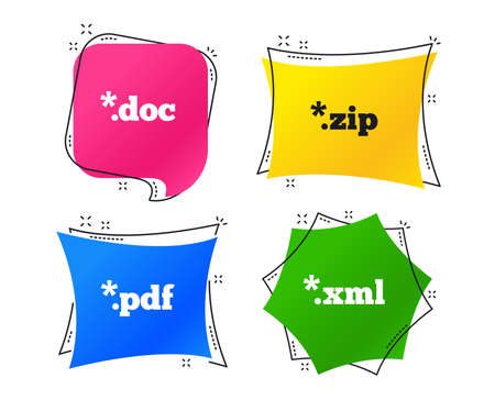 Document icons. File extensions symbols. PDF, ZIP zipped, XML and DOC signs. Geometric colorful tags. Banners with flat icons. Trendy design. Vector  イラスト・ベクター素材