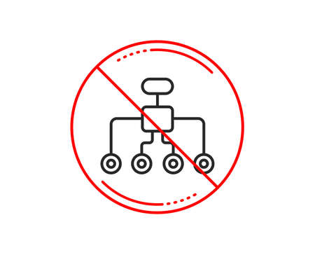 No or stop sign. Restructuring line icon. Business architecture sign. Delegate symbol. Caution prohibited ban stop symbol. No  icon design.  Vector