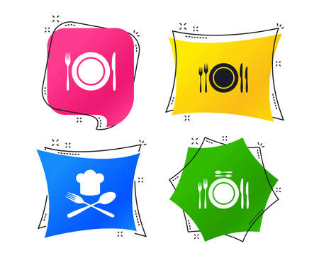 Plate dish with forks and knifes icons. Chief hat sign. Crosswise cutlery symbol. Dining etiquette. Geometric colorful tags. Banners with flat icons. Trendy design. Vector