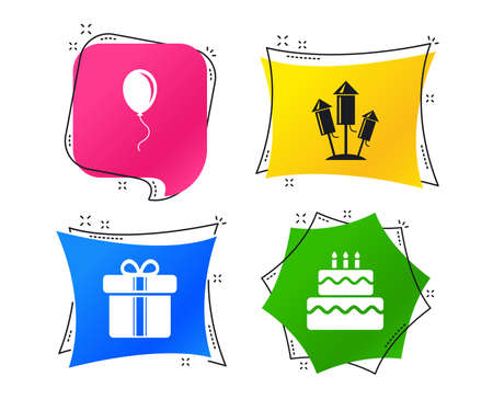 Birthday party icons. Cake and gift box signs. Air balloons and fireworks rockets symbol. Geometric colorful tags. Banners with flat icons. Trendy design. Vector 일러스트