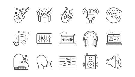 Music line icons. Guitar, Musical note and Headphones. Jazz saxophone linear icon set.  Vector Illustration