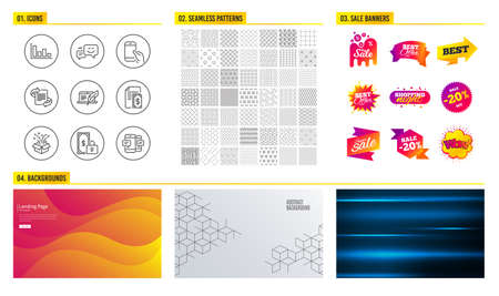Seamless pattern. Shopping mall banners. Set of Private payment, Gift and Happy emotion icons. Histogram, Marketing and Hold smartphone signs. Payment, Copyright laptop and Smartphone sms symbols Illustration