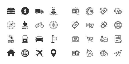 Set of Navigation and Gps icons. Windrose, Compass and Burger signs. Bicycle, Ship and Car symbols. Location pointer and flag. Paper plane, report and shopping cart icons. Group of people. Vector