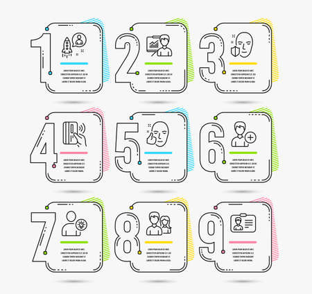 Infographic template with numbers 9 options. Set of Face protection, Healthy face and Couple icons. Contactless payment, Startup and Add person signs. Vector