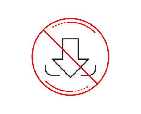 No or stop sign. Download Arrow line icon. Down arrowhead symbol. Direction or pointer sign. Caution prohibited ban stop symbol. No  icon design.  Vector Illustration