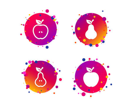 Fruits with leaf icons. Apple and Pear with seeds signs. Natural food symbol. Gradient circle buttons with icons. Random dots design. Vector
