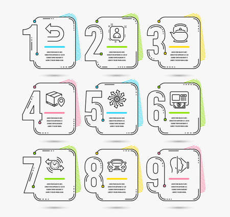 Infographic template with numbers 9 options. Set of Undo, Atm and Parcel tracking icons. Versatile, Teapot and Developers chat signs. Car, Timer and Face id symbols. Vector Banque d'images - 117964942