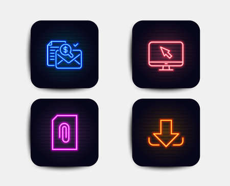 Neon glow lights. Set of Internet, Attachment and Accounting report icons. Download sign. Monitor with cursor, Attach document, Check finance. Load file.  Neon icons. Glowing light banners. Vector