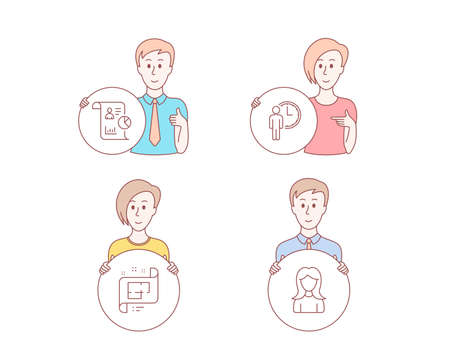 People hand drawn style. Set of Architectural plan, Report and Waiting icons. Woman sign. Technical project, Work statistics, Service time. Girl profile.  Character hold circle button. Vector